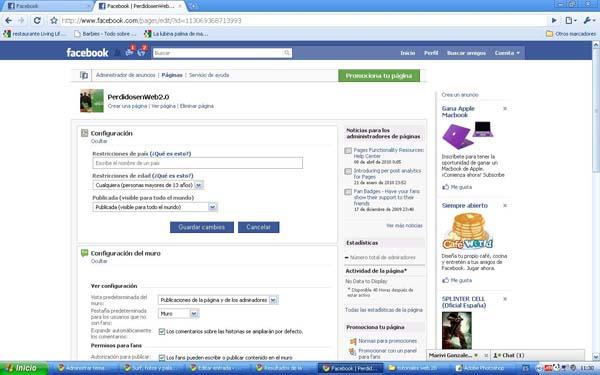 configuración fan page